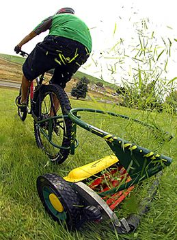 The Cutting Edge: Bicycle Lawnmowing | Clever DIY | Reel