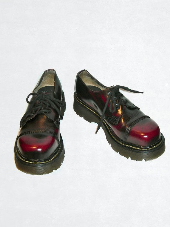 3d680db24256 Sale- Rare Vintage Steel Toe Doc Martens Punk Red and Black Patent Leather  Boots -- size 7 UK   size 8 US Mens   size 9 to 9.5 US Women on Etsy