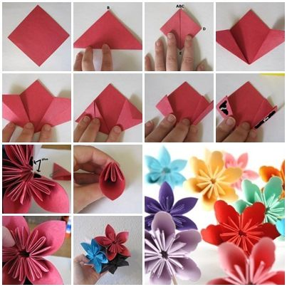 How to fold cute diy kusudama paper craft flower for Cute paper crafts