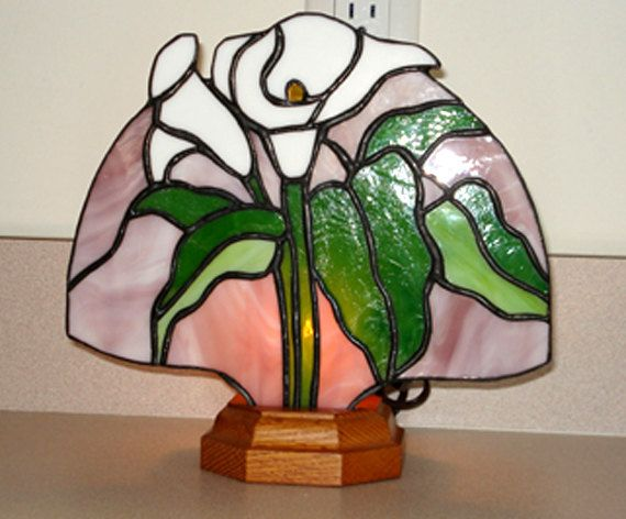 Stained Glass CALLA LILY FAN Lamp in by StainedGlassandPens