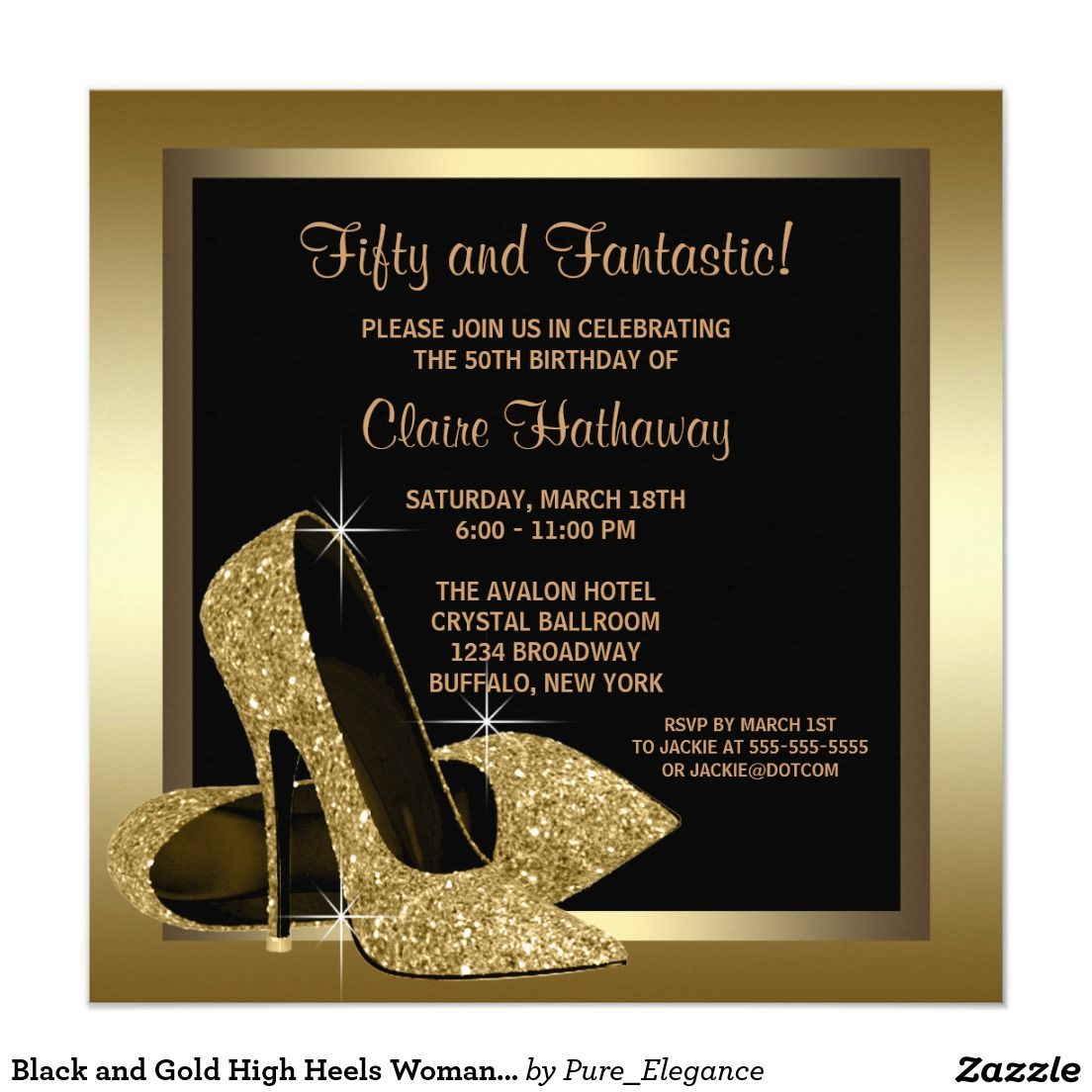 Black and Gold High Heels Womans 50th Birthday 13 Cm X 13 Cm Square ...