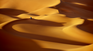 Le Sahara Le plus grand de tous, le Sahara est un désert formé de vastes étendues de sable (ergs) à dominante rouge, de plaines caillouteuses (regs), de pierres et de dunes modelées par le vent qui les déplace. Les tempêtes de sable n'y sont pas rares. Les précipitations y sont peu fréquentes, et dans certaines régions complètement inexistantes pendant de nombreuses années. C'est le domaine des touaregs Libye3325-©Patrick.Galibert