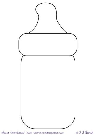Baby bottle template on craftsuprint designed by sally for Baby shower decoration templates