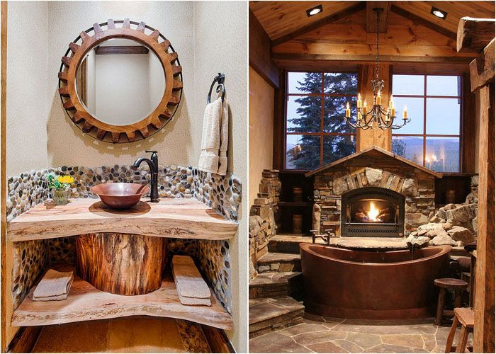 оригинальный интерьер в рустикальном стиле Bathrooms