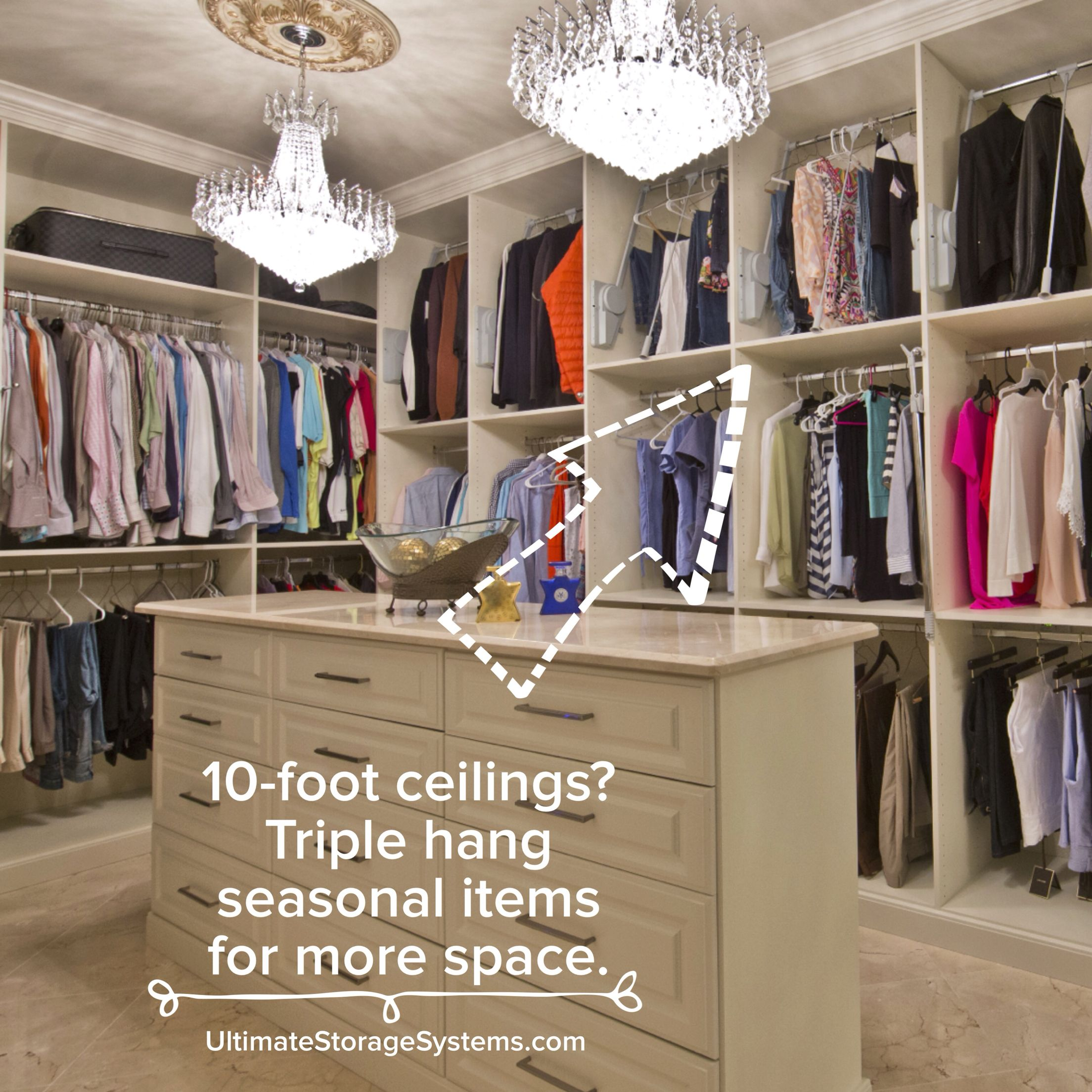 With 10foot ceilings, women can triple hang their