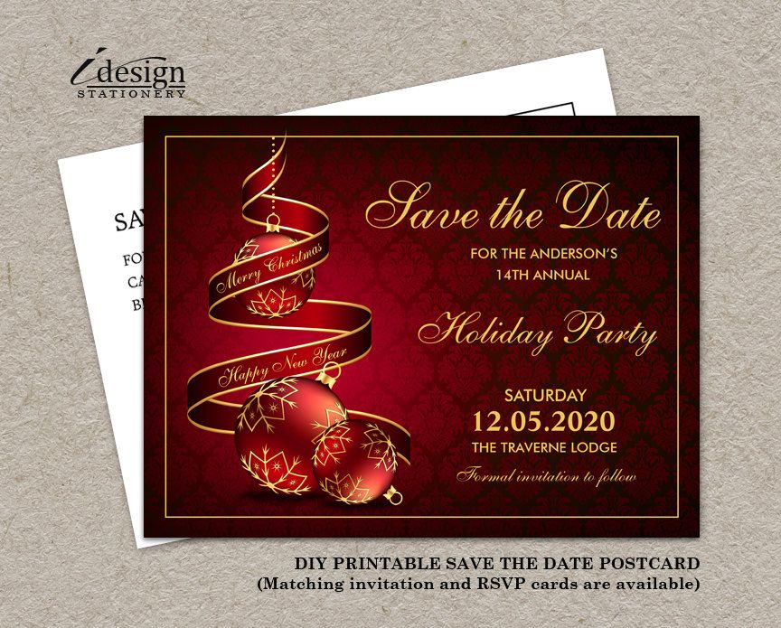 Christmas Party Save The Date Cards.Christmas Party Save The Date Cards By Idesignstationery On