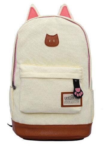 307ca127b385 Cute Cat Ear Cartoon Canvas mochila For Women Girls Satchel School Bags  Rucksack School Backpack children school book bags