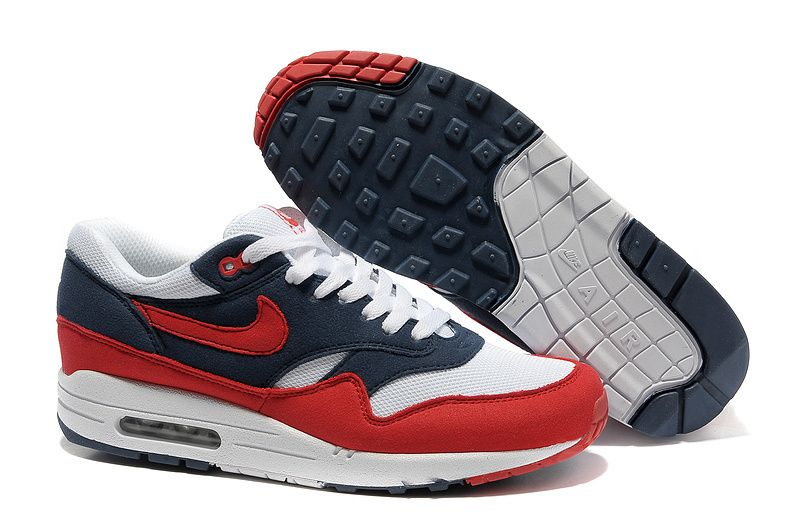Buy 2013 New Mens Midnight Navy Action Red White Neptune Blue Nike Air Max  1 Running Shoes Shop