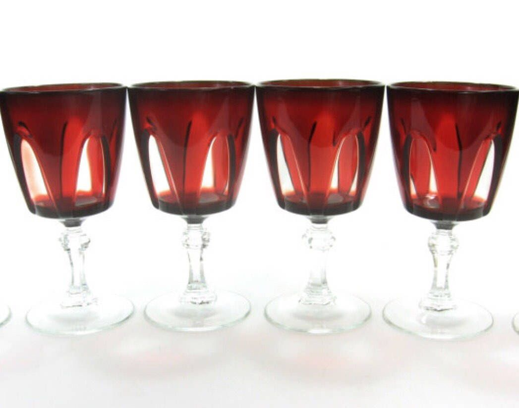 Garnet Color Ruby Red Wine Glasses Delicate Glass Elegant Dining Crystal Made In France Chistmas Dinnerware Red Wine Glasses Vintage Wine Glasses Red Wine