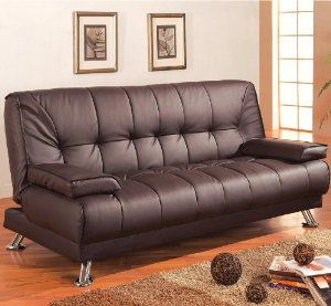 Futon Sofa Bed With Removable Arm Rests Brown Vinyl Leather Finish Coaster 300148 Price 159 99 You Contemporary Sofa Bed Leather Sofa Bed Best Sleeper Sofa