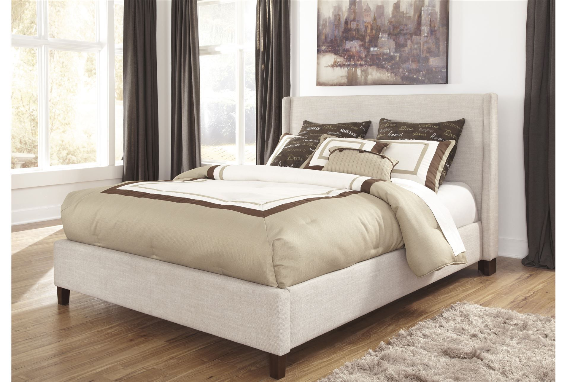 Hillary California King Upholstered Panel Bed  Living Spaces