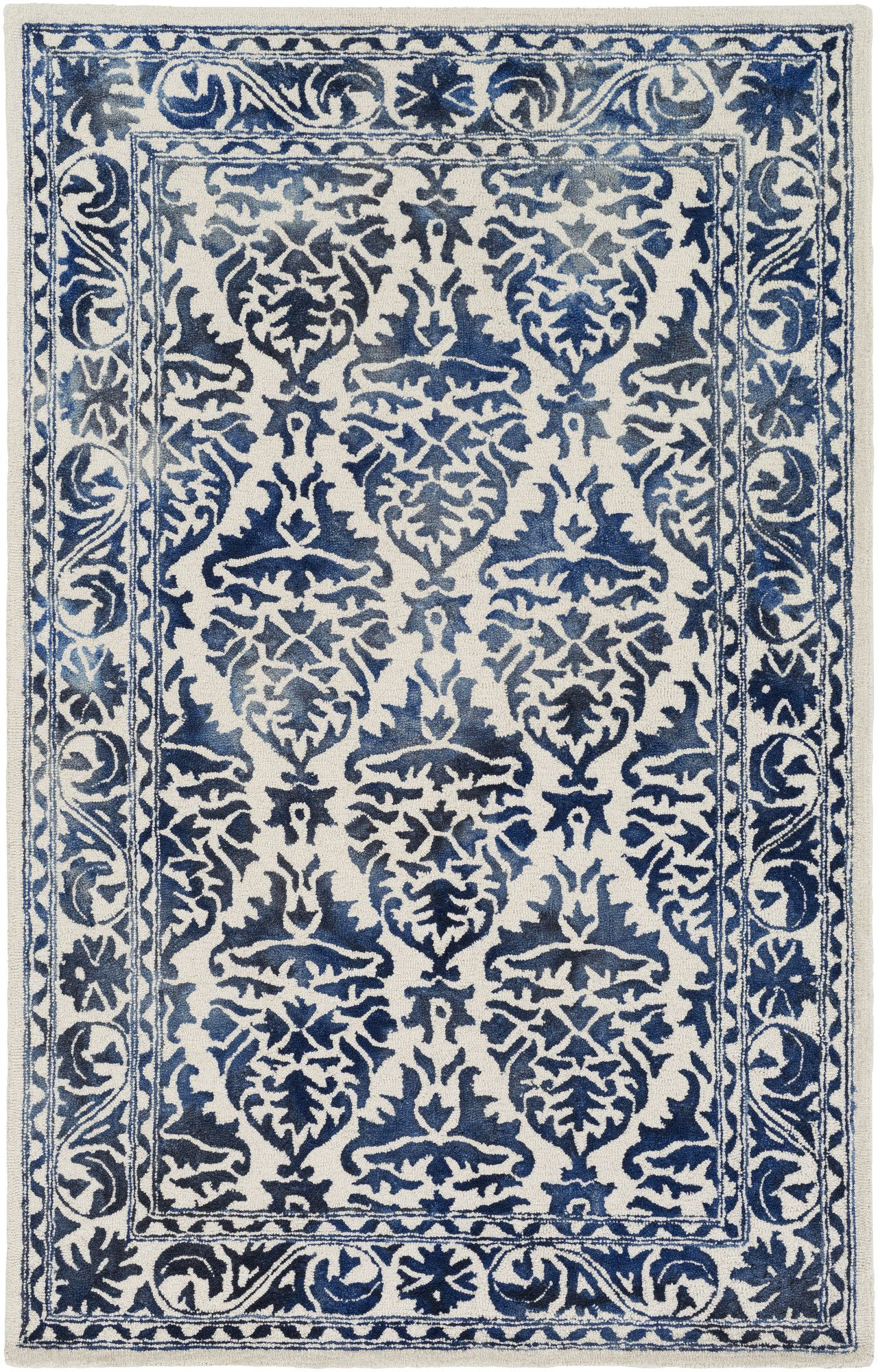 Organic Evelyn Hand Tufted Navy Off White Area Rug White Area Rug Area Rugs Transitional Area Rugs