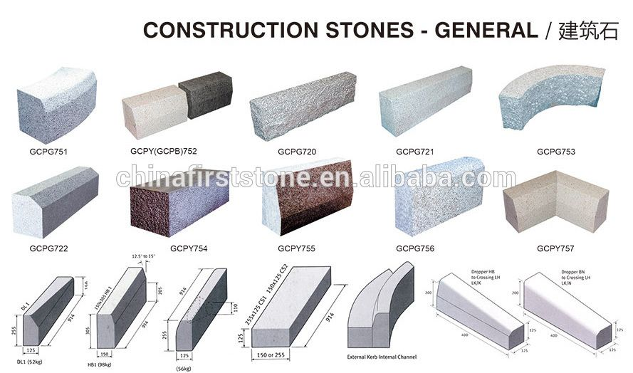 G603 Granite Rough Finish Kerb Stones Prices Structure