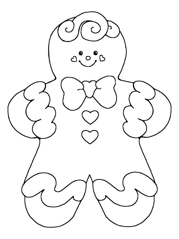 Gingerbread Cute Baby Girl Coloring Pages