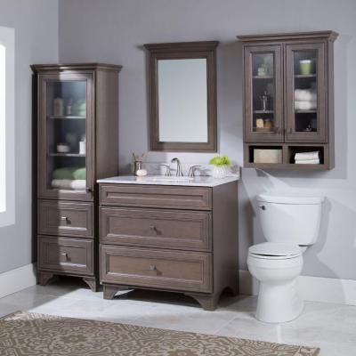 Home Decorators Collection Albright 36 In W Bath Vanity Cabinet Only In Winter Gray 19fvsdb36 The Home Depot Vanity Cabinet Linen Storage Cabinet Wall Storage Cabinets