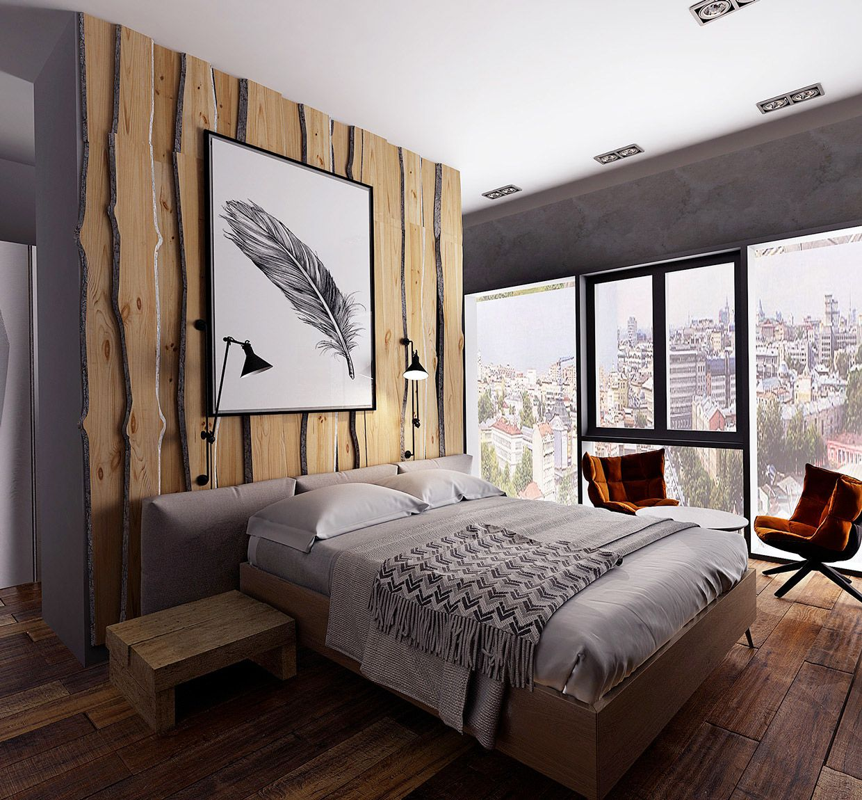 Wooden Wall Designs 30 Striking Bedrooms That Use The Wood Finish Artfully Modern Rustic Bedroom Decor Rustic Bedroom Decor Rustic Bedroom Design