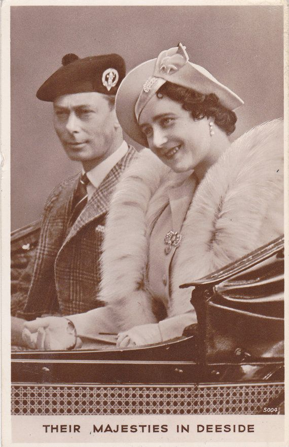 """Photo postcard from 1942 shows King George VI and Queen Consort Elizabeth, """"Their Majesties in Deeside."""""""