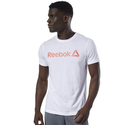 New Reebok Linear Read T-Shirt White//Neon Red Size Large