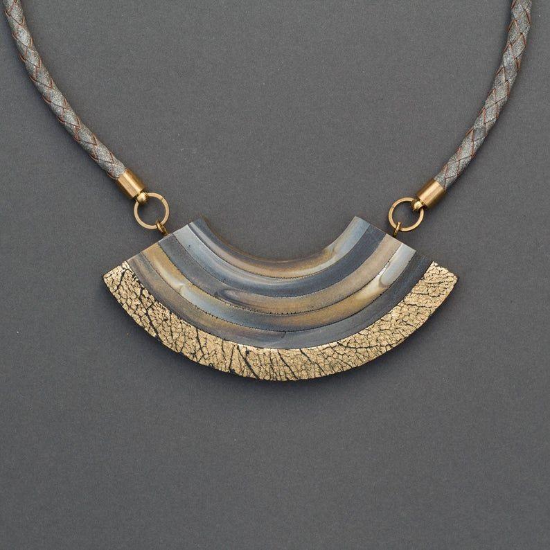 Large Long Statement NecklaceBib NecklaceGeometric Polymer Clay Statement Necklace  Boho Ethnic Necklace