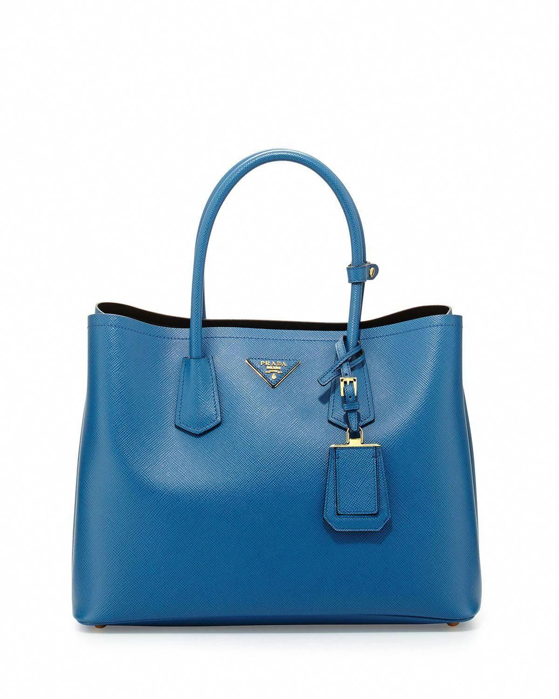 acb0031af9fa Prada Saffiano Cuir Double Bag, Blue (Cobalto) #Pradahandbags ...