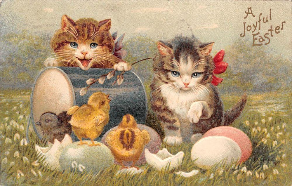 Antique 1910 joyful easter postcard kittens cats chicks