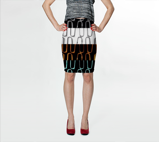 Buy Limited Edition Fitted Skirt only 25 available worldwide.   This artwork printed skirt by Nadia Bonello is easy to wear every day! Made with a signature knit fabric, milled in Montreal. This fitted skirt falls above the knee. Made to last, the fabric won't lose shape and the vibrant prints never fade. (Trū Images)