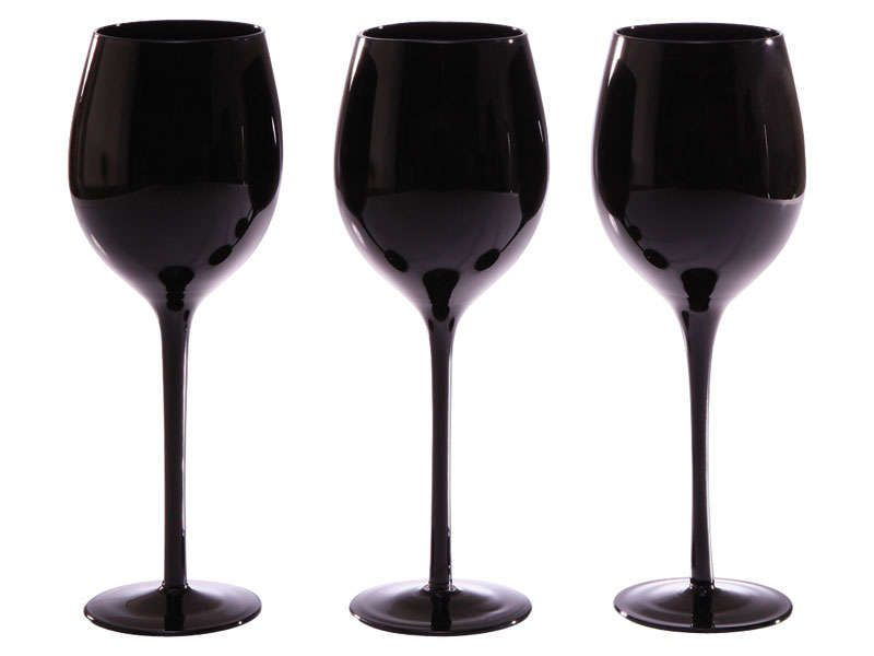 lot de 3 verres vin ombra coloris noir marque. Black Bedroom Furniture Sets. Home Design Ideas