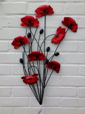 Metal Wall Art Black Stem Poppies Iep Q 36 Amazon Co Uk Kitchen Home Metal Wall Art Wall Art Art