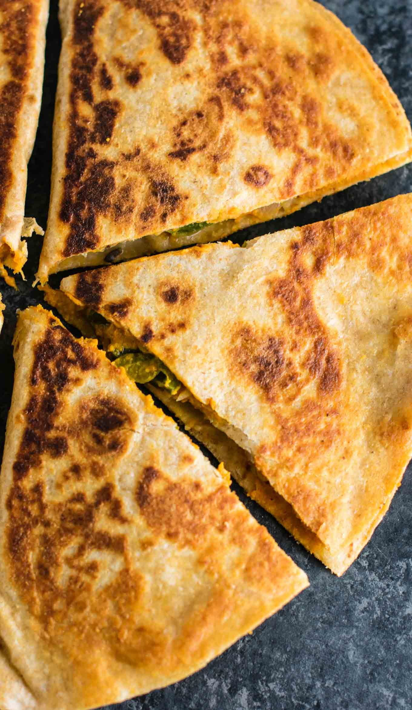 Easy Vegan Quesadillas Recipe Packed Full Of Protein And Flavor No Meat No Dairy No Vegan Cheese Vegan Party Food Quesadilla Recipes Vegan Recipes Healthy