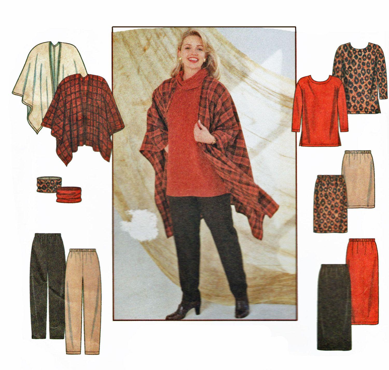 Womens Plus Size Sewing Pattern Shawl Wrap Pattern Long Sleeve Tunic ...