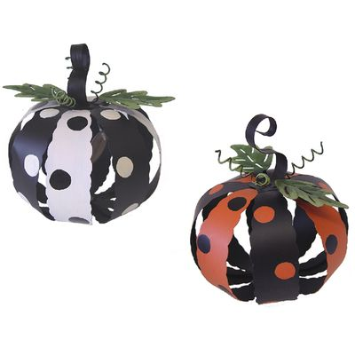 Metal Pumpkin with Polka Dots Halloween Decoration Set of 2 Similar - hobby lobby halloween decorations