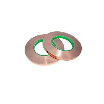 Lgege 2 Rolls Dual Conductive Adhesive 55yd Electron Copper Foil Tape Self Adhesive Copper Foil Tape Stained Glas Copper Foil Tape Paper Circuits Copper Foil