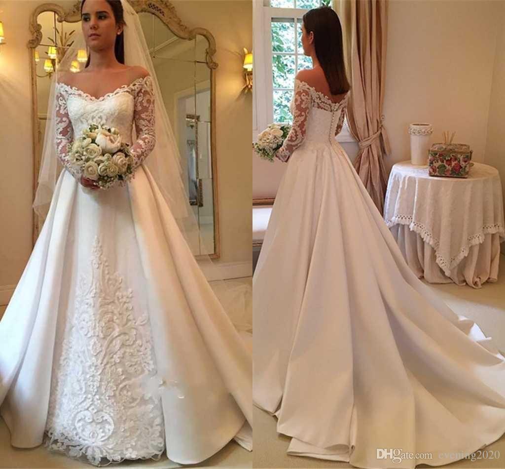 Discount 2018 Elegant White A Line Wedding Dresses Off Shoulder