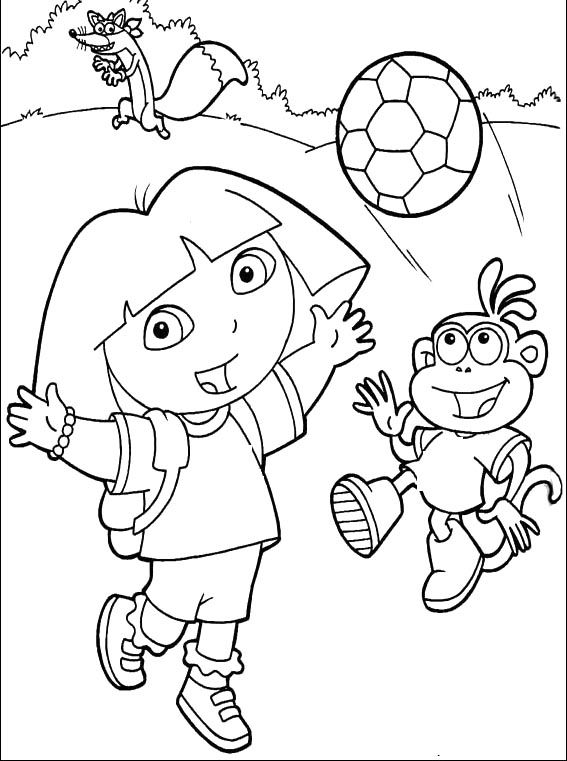 Dora and boots playing ball coloring for kids dora the explorer cartoon coloring pages