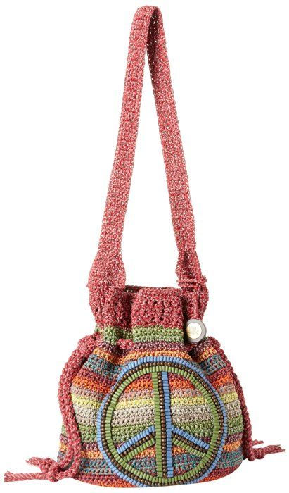 The SAK Sonora Drawstring Shoulder Bag,Gypsy Stripe With Peace Sign,One Size