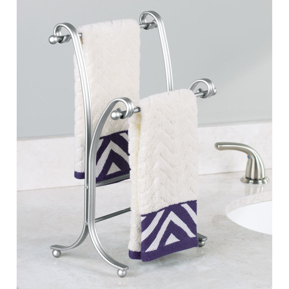 Chrome//Brushed 2 Hanging Rings 14.25 High mDesign Decorative Metal Fingertip Towel Holder Stand for Bathroom Vanity Countertops to Display and Store Small Guest Towels or Washcloths