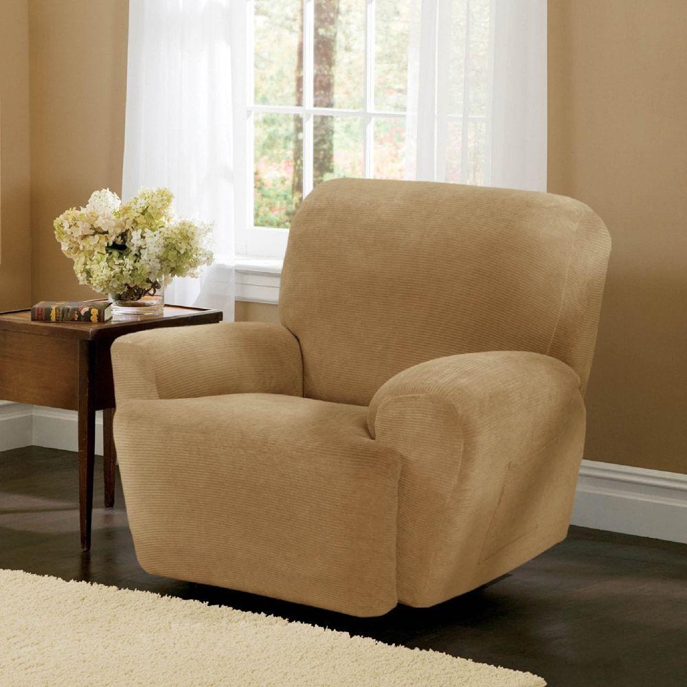 Maytex Collin Stretch Pinstripe 4 Piece Recliner Furniture