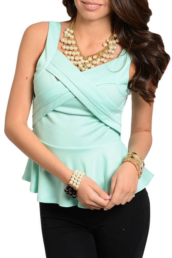 DHStyles Women's Mint Trendy Sexy Crisscross Sleeveless Peplum Top - Large #sexytops #clubclothes #sexydresses #fashionablesexydress #sexyshirts #sexyclothes #cocktaildresses #clubwear #cheapsexydresses #clubdresses #cheaptops #partytops #partydress #haltertops #cocktaildresses #partydresses #minidress #nightclubclothes #hotfashion #juniorsclothing #cocktaildress #glamclothing #sexytop #womensclothes #clubbingclothes #juniorsclothes #juniorclothes #trendyclothing #minidresses #sexyclothing…