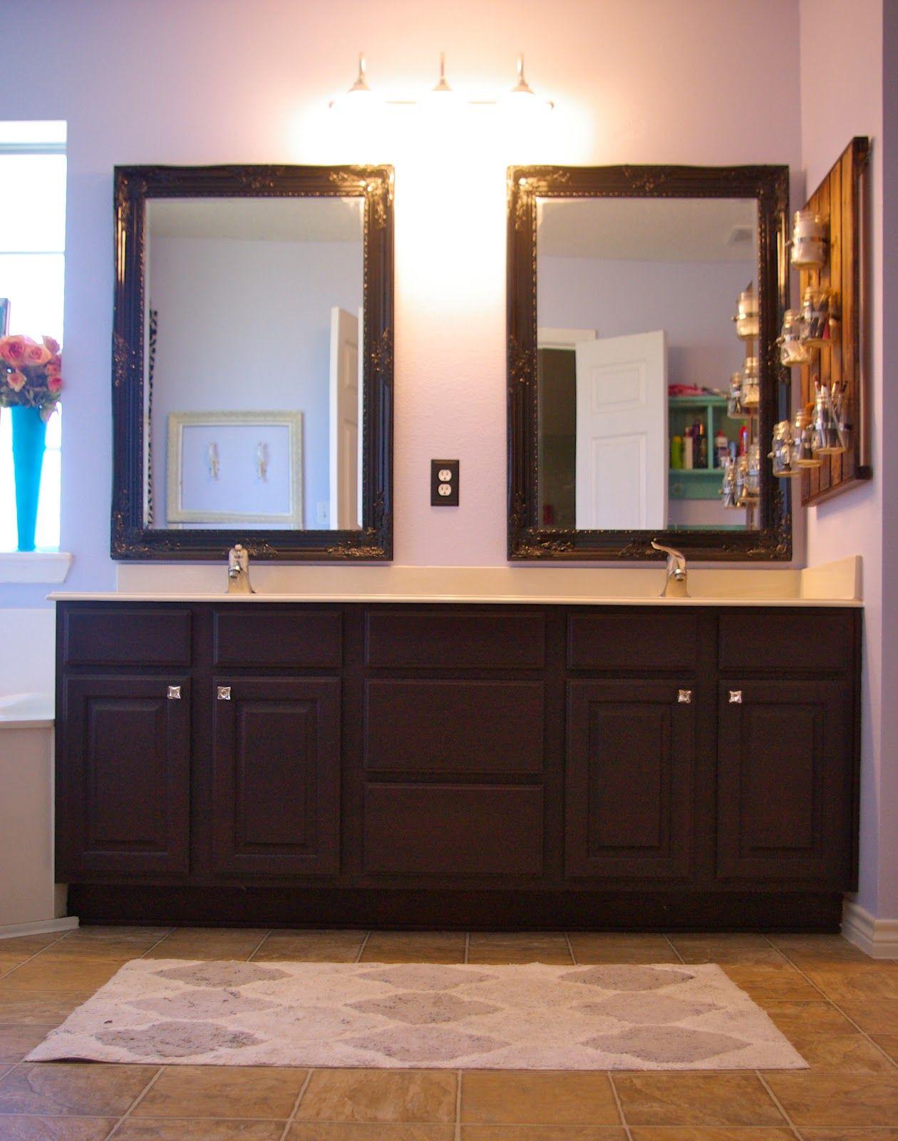 Skinny Meg: Refinished Bathroom Cabinets | Brown bathroom ...