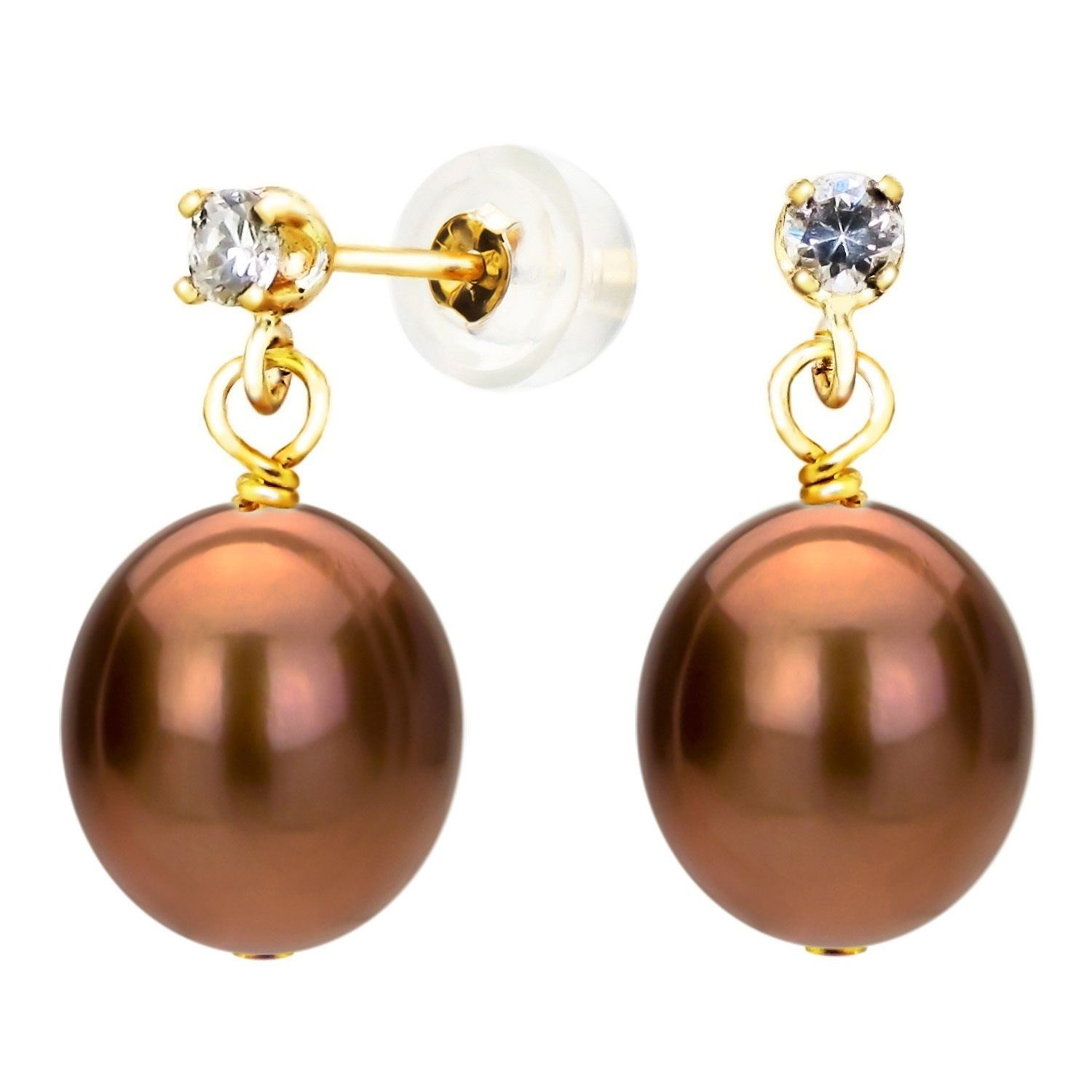 DaVonna 14K Yellow Gold 8-8.5mm Brown Cultured Freshwater Pearl 0.10tcw CZ Stud Earrings (Brown), Women's, Size: Medium