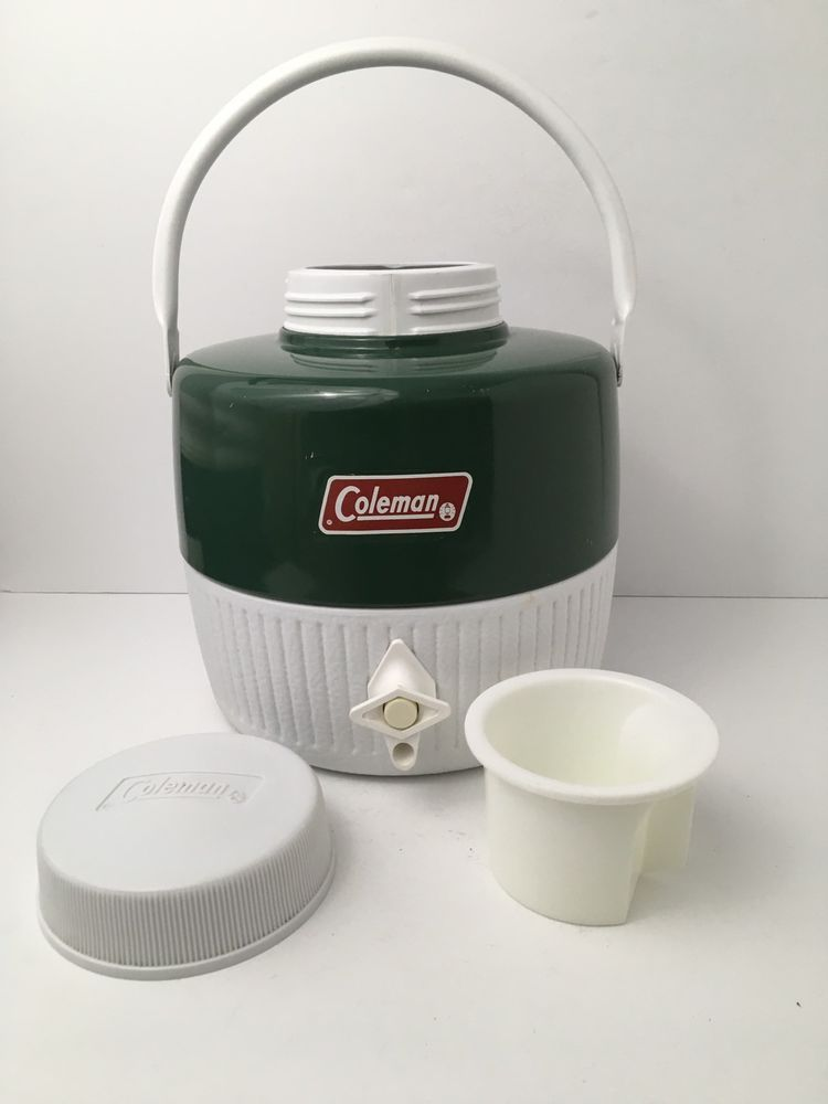Vintage Coleman Green One Gallon Insulated Water Cooler Jug W Removable Cup Usa Water Coolers Gallon Jugs