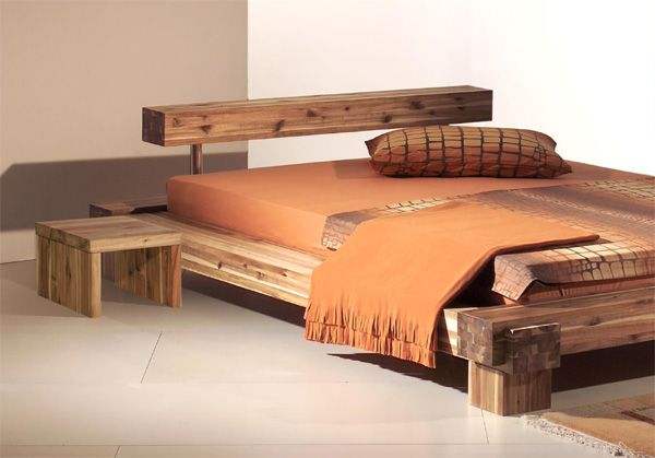 lit en bois design maison pinterest lit en bois en bois et lits. Black Bedroom Furniture Sets. Home Design Ideas