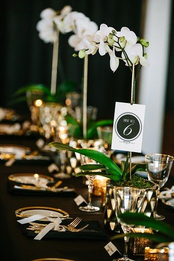 Gold And Black Wedding Reception Table With White Orchids Wedding