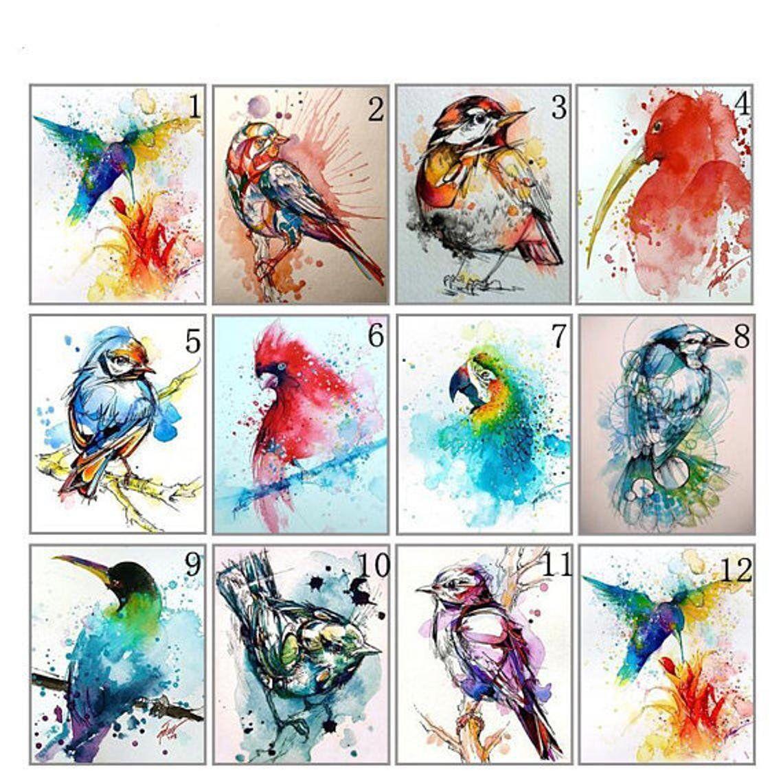 5d diamond painting kit animal birds colored ink diy