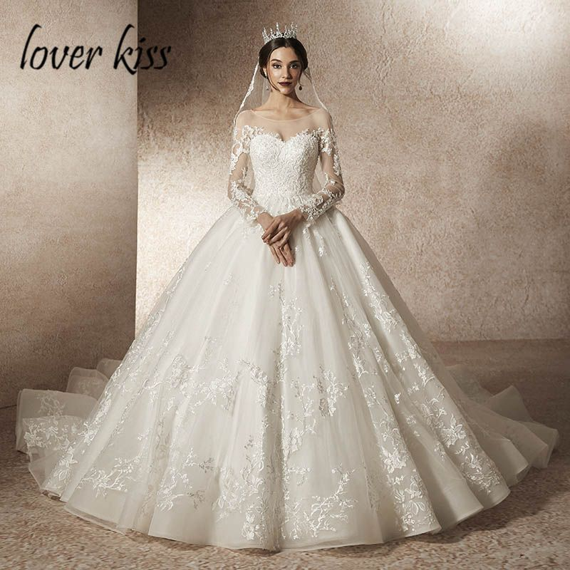 bf9f216f66d9a2 Lover Kiss Vestido De Noiva 2019 Transparent Tulle Wedding Dress with Sleeve  Lace Beaded Low Back Bridal Gowns robe de mariage Enjoy ✓Free Shipping ...