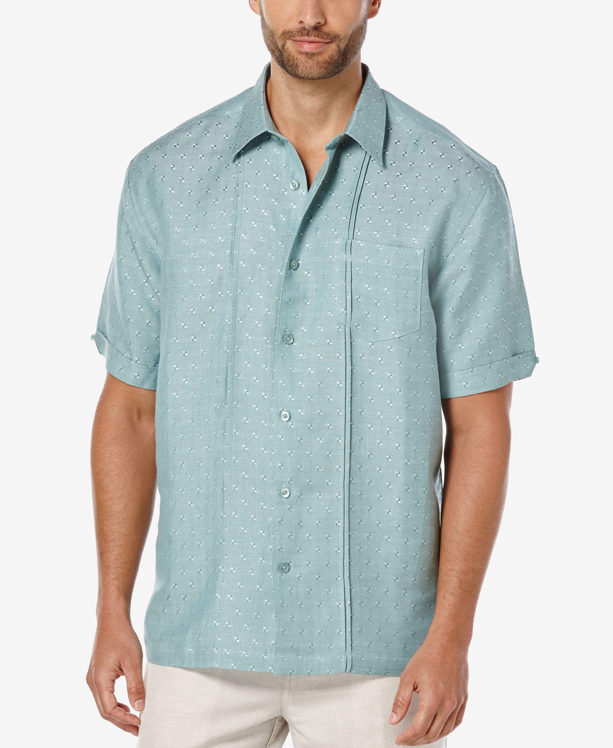 Mens Button Up Linen Textured Short Sleeves Dress Shirts