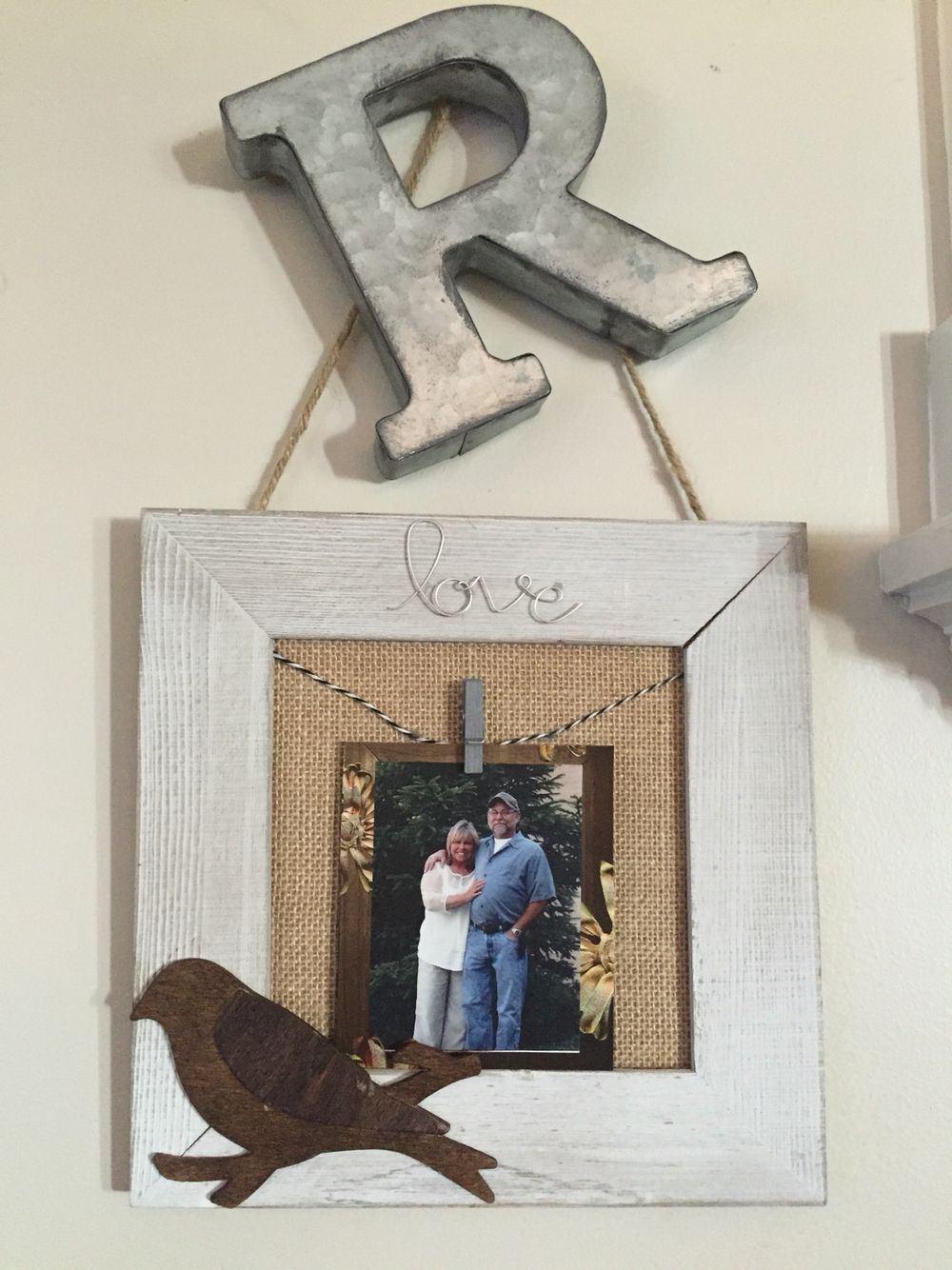 Burlap Mix it Media frame (from Walmart) upgraded with clothespin ...