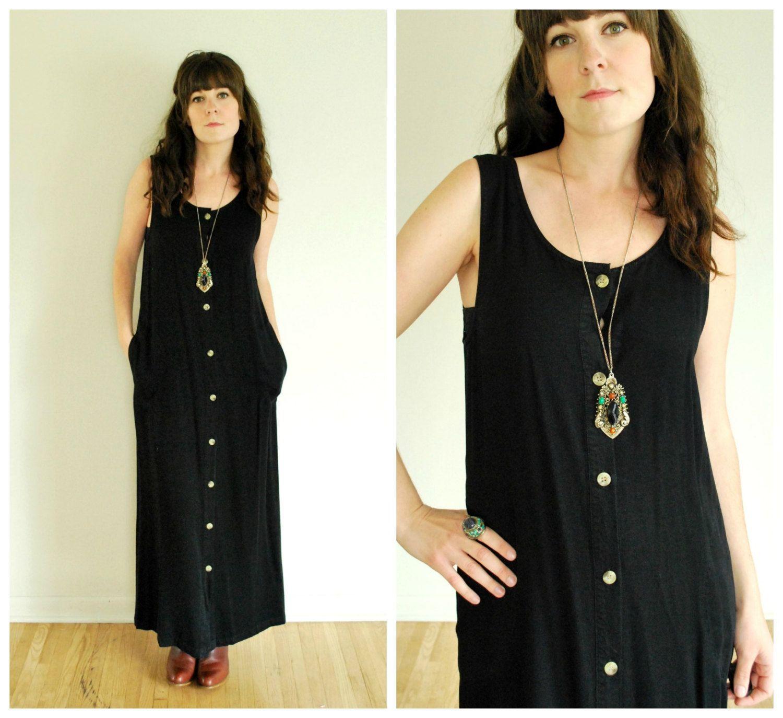 90's Black Maxi Dress - Button Down Cotton Dress - Size S/M/L
