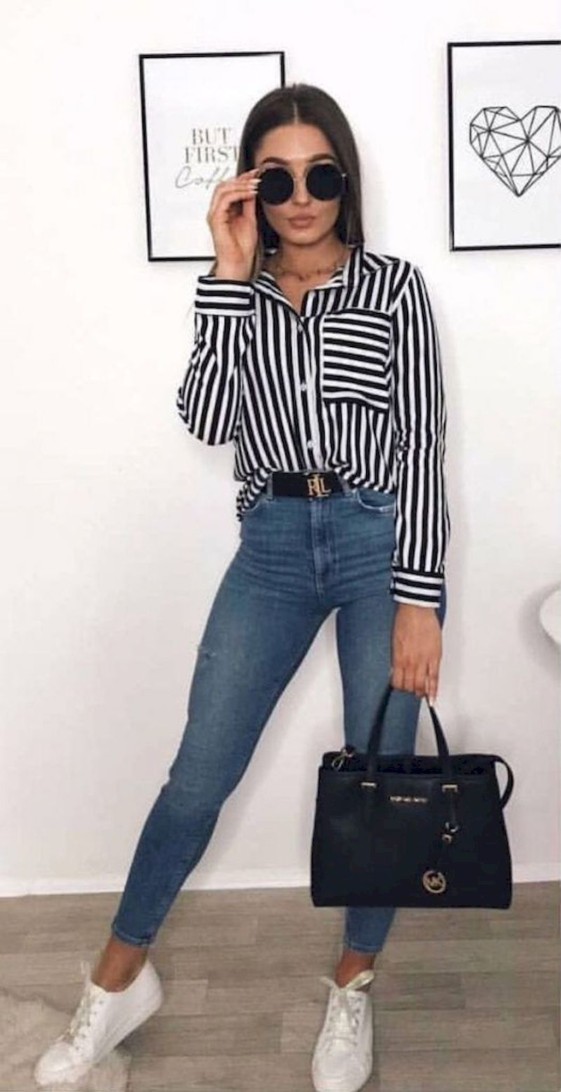 Image result for outfits con blusa a rayas