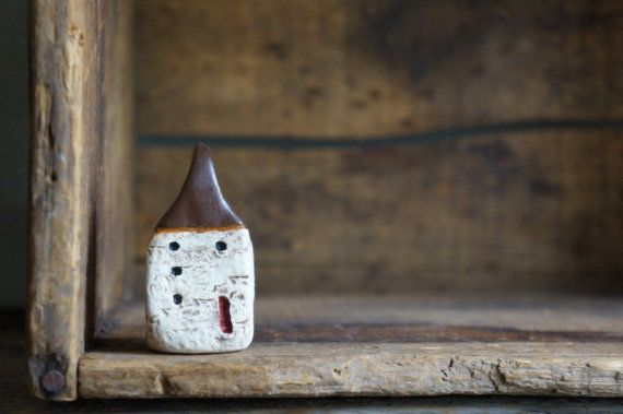 Miniature Cob House Hand Sculpted Clay House by Mymindsattic